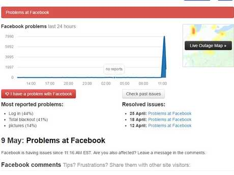 The Aussie Outages page showing Facebook's status