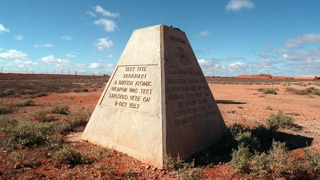 """A monument marks ground zero for the """"Taranaki"""" conducted in 1957."""