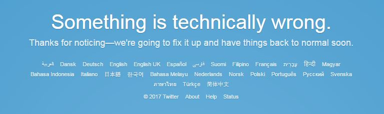 Twitter reported technical difficulties on its page around lunchtime.