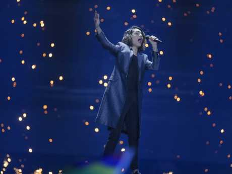 Isaiah Firebrace from Australia performs Don't Come Easy during the first semi-final.