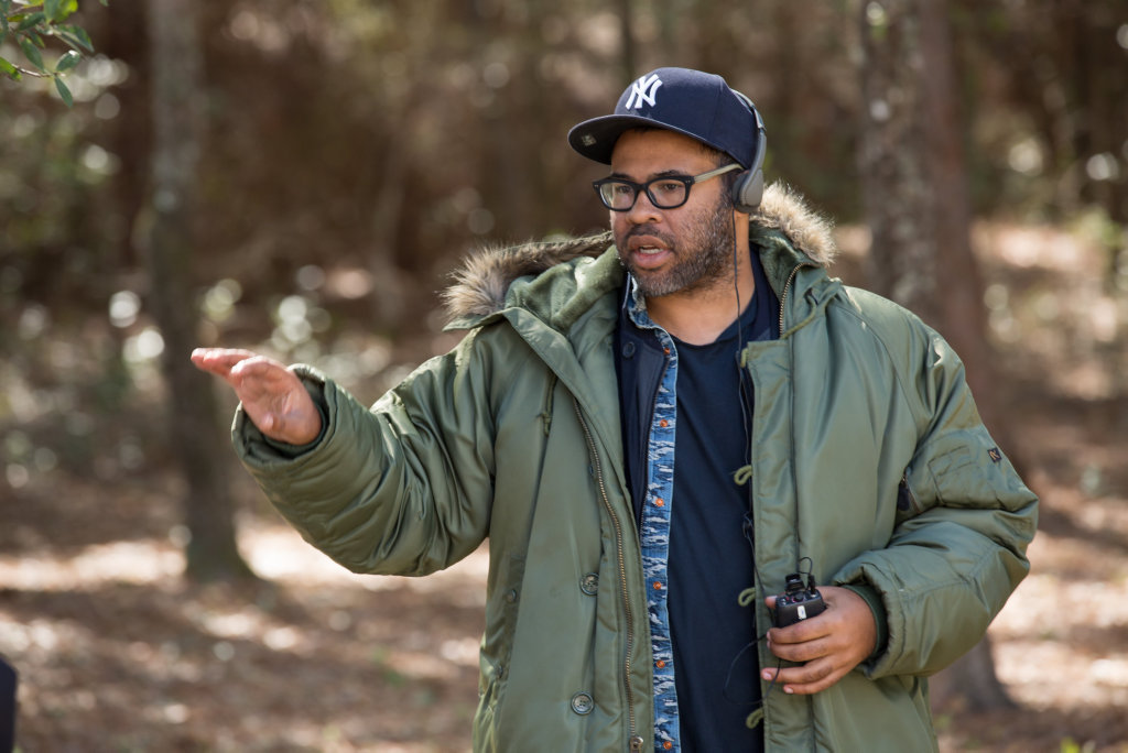 Director Jordan Peele pictured on the set of the movie Get Out.