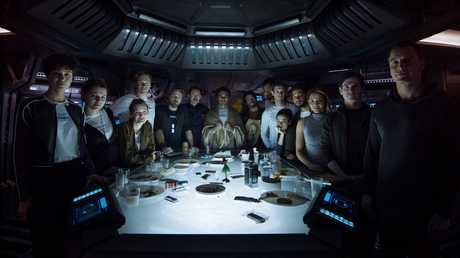 The crew of The Covenant, including Billy Crudup second from right, in a scene from the movie Alien: Covenant.