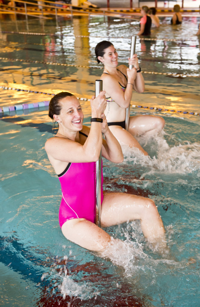 WATER FIT: Cora-lea Maher and Tori Donovan take part in the Acqua Pole classes at the Baillie Swim Centre . Wednesday, 10th May, 2017.
