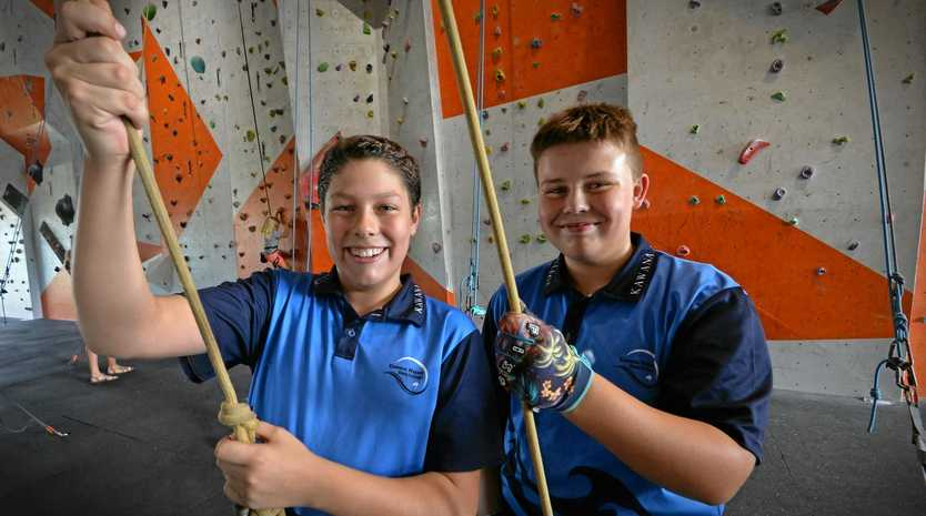 READY FOR ANYTHING: Year 9 students, Cody Bosma and Corben Haddlesey enjoy participating in the REDE propgram challenges.