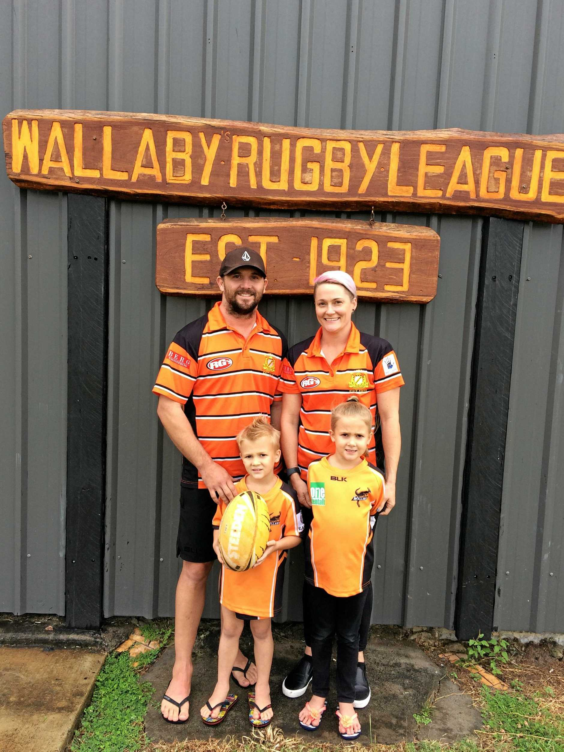 FAMILY AFFAIR: Matt and Chelsea Baker with children Quade and Maddison. Matt and Chelsea will play for Wallabys this weekend, while Quade will play for the under-6s.