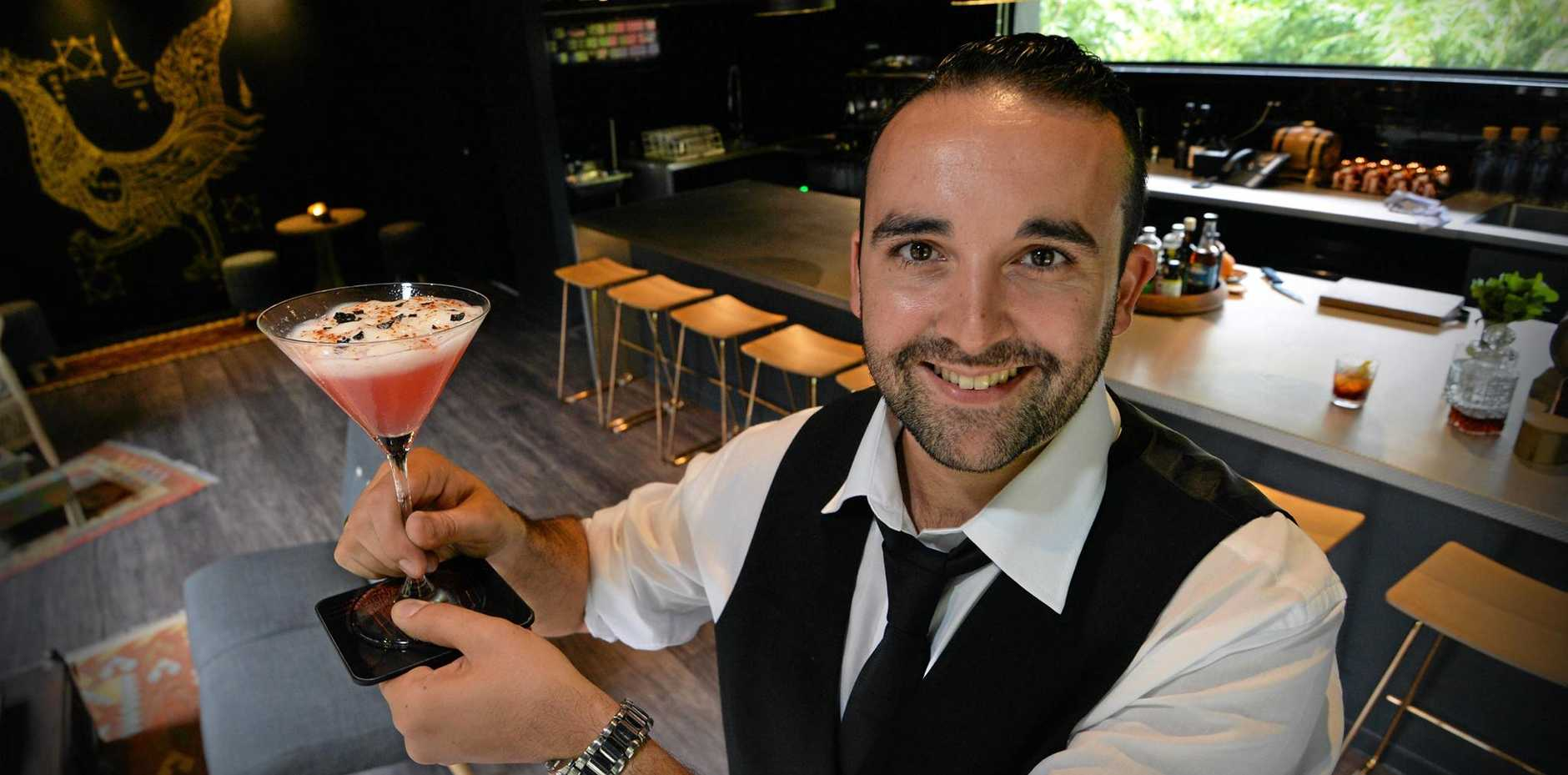 A private dining room with its own bar is the latest addition for the Spirit House restaurant at Yandina. Bar manager, Yann Audran.