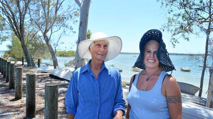 Tin Can Bay fun in the heat Angie McNamara and Jolian Solomon.