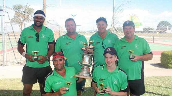 The winning Mackay men's team (back) Nik Ray, Darren Campman, Terry Black, Carey Fry and (front) Brett Campman and Lucas Sunderland. (Absent - John Pratt).