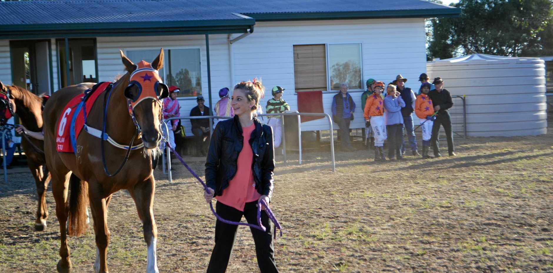 PROFESSIONAL JOCKEY: Shannyn Barlow leads one of her faithful steads. INSET: Shannyn Barlow in her debut race as a certified jockey.