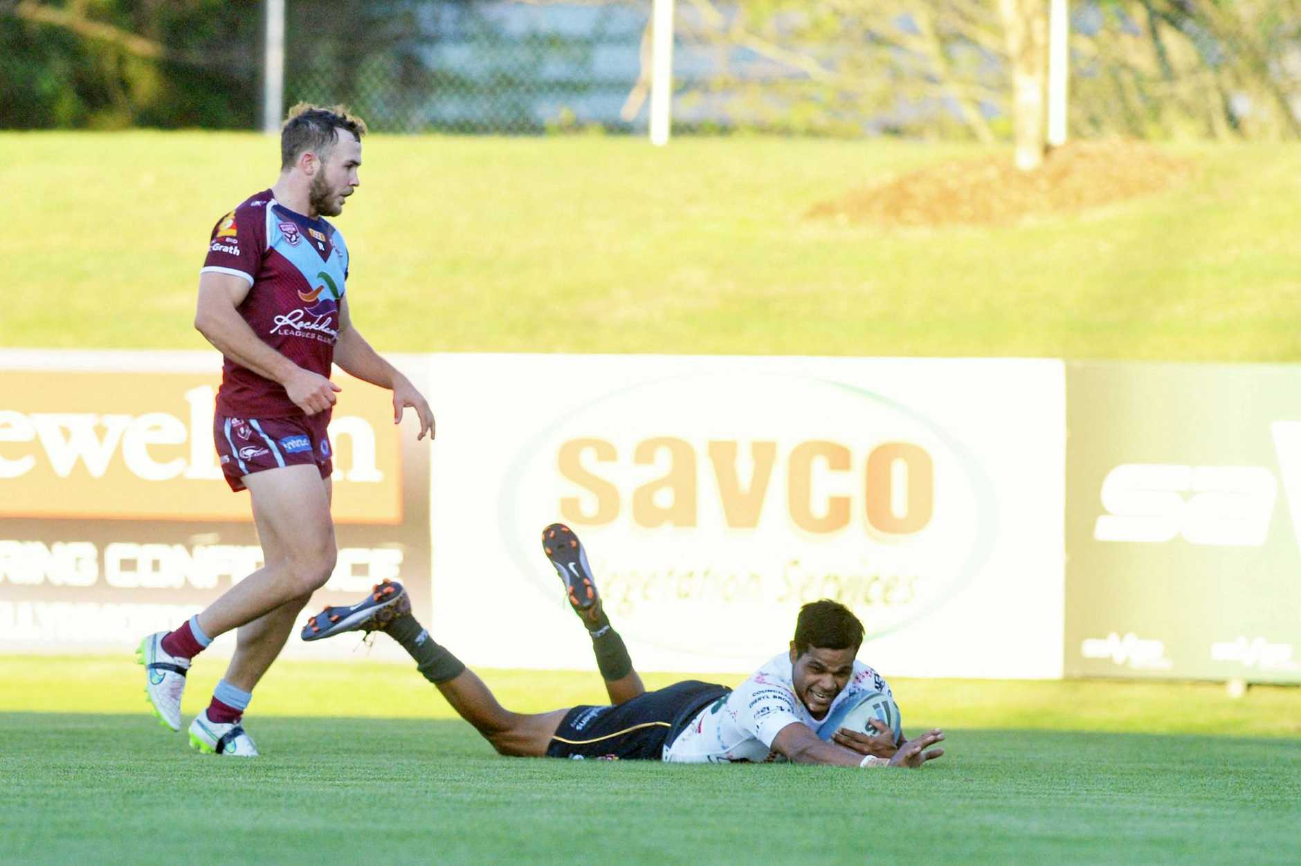 Ipswich Jets v CQ Capras Intrust Super Cup. Michael Purcell's try.