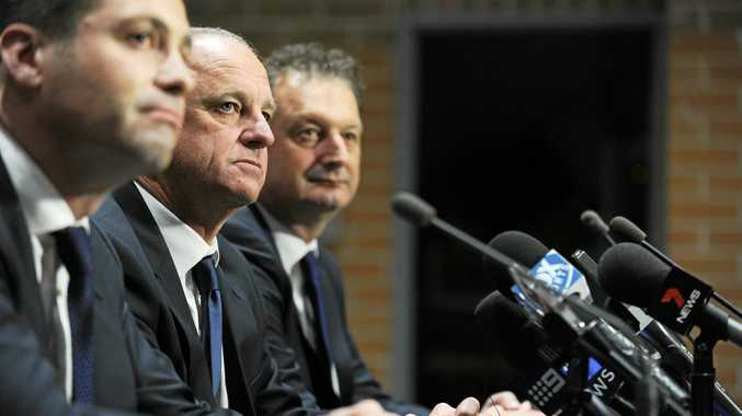 Outgoing Sydney FC CEO Tony Pignata (right) with club chairman Scott Barlow (left) and coach Graham Arnold.