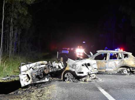 Crash investigators at the scene of a double fatality on the Bruce Hwy north of Tiaro.