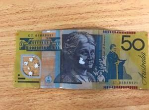 BEWARE: A counterfeit $50 note presented at businesses in Tara earlier this year.