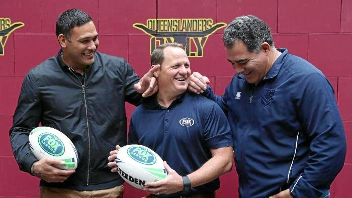Justin Hodges, Kevin Walters and Mal Meninga promoting Rugby League Double Header at Suncorp Stadium.  Photo: News Corp Australia