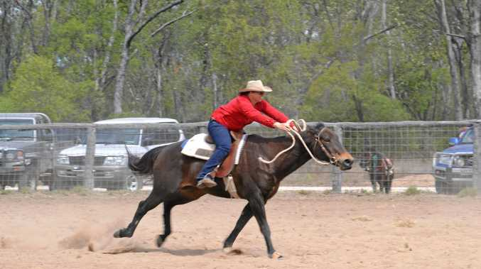 IN THE SADDLE: Amanda Hair leads the barrel racing with a time of 18.54s.