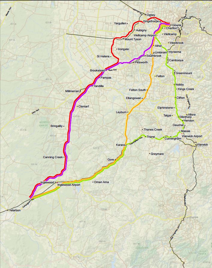 The four alignments reviewed for the Yelarbon to Gowrie section of the Inland Rail. The purple route - known as the Charlton-Wellcamp route - was ultimately chosen as the government's preferred route in September, 2017.