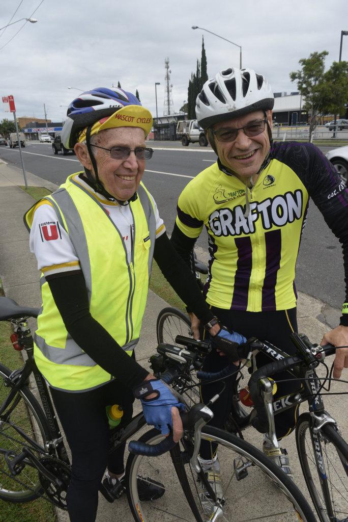 1973 Grafton To Inverell winner Kevin Brindle and new Grafton Cycle Club member David Hislop.Photo Bill North / Daily Examiner