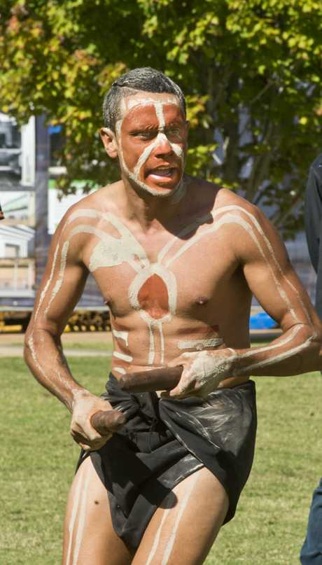 Buddy Hippi performs traditional dance in the Welcome to Country for students from Cape York and Palm Island communities . Thursday, 11th May, 2017.