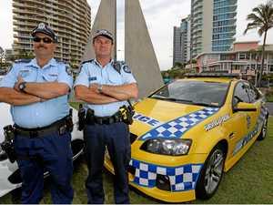 HOON PATROL: Senior constables Ray Wilson (left) and Mark Keogh patrol Gold Coast roads.
