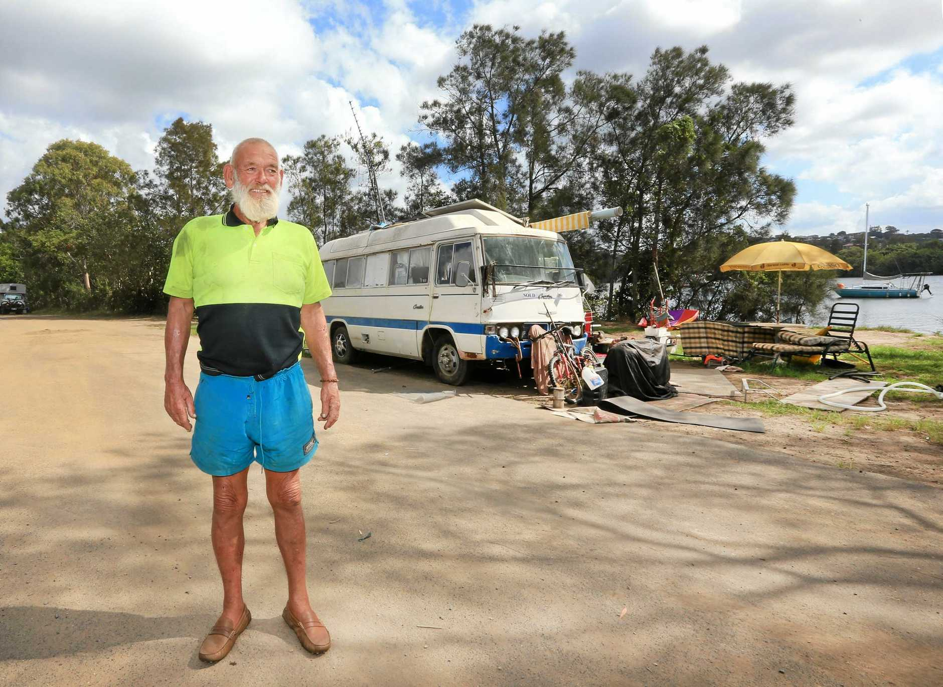 A run of terrible luck has left Poppa Bill Short with few options but to live on the banks of the Tweed River in his Coaster.