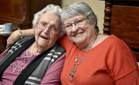 Leila Conway celebrates her 100th birthday, May 9, 2017.  Leila (left) with her daughter Jill Bentley. Celebration at Brodribb Home. May 2017