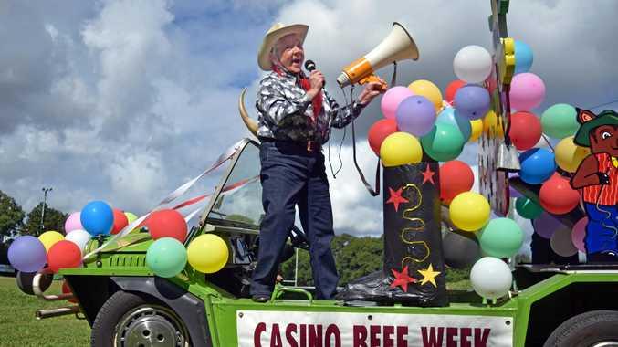 Brenda Armfield, of Casino celebrates 30 years of being the loud hailer announcer of Beef Week in her lime green mini-moke.