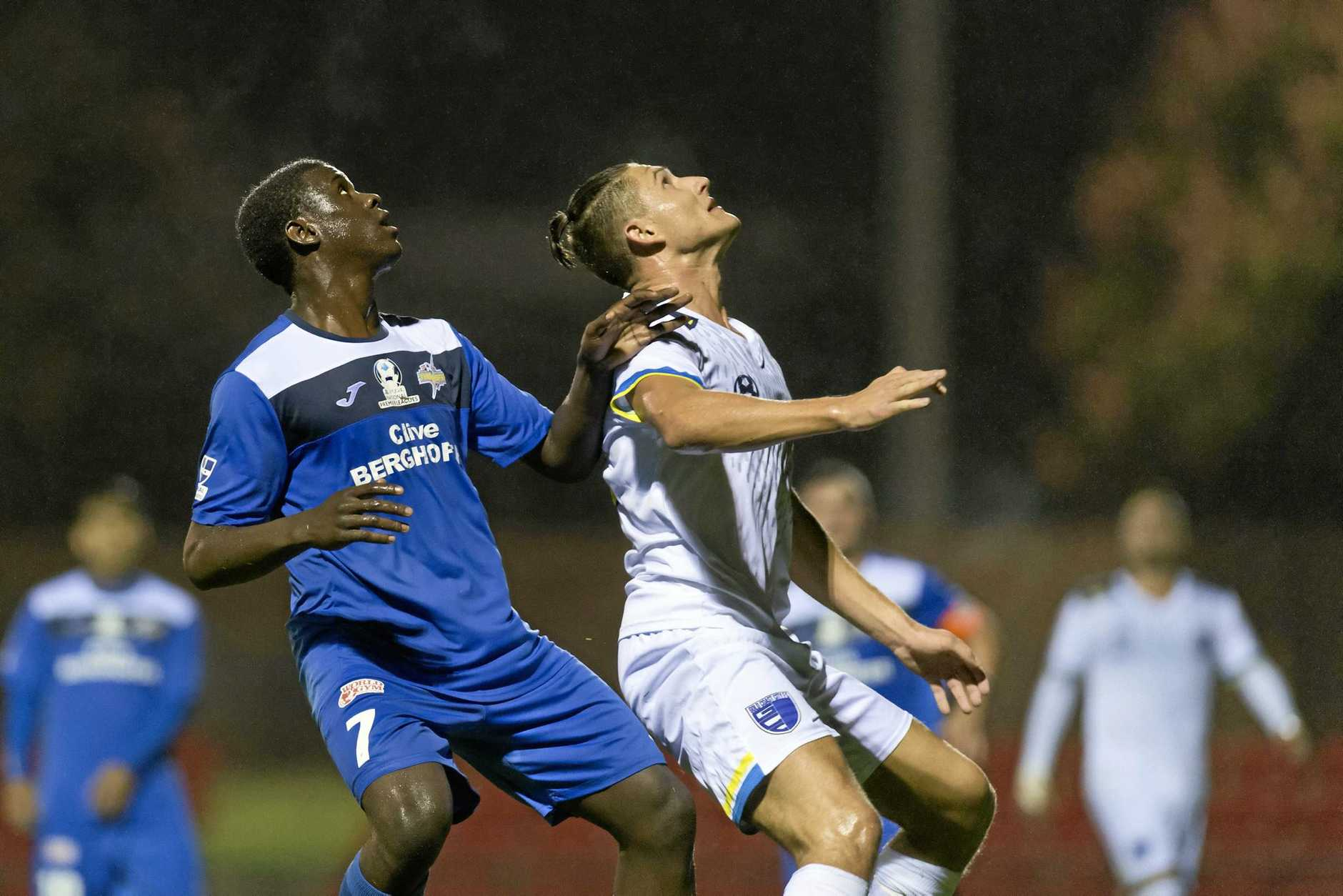 Kimba Kibombo for South-West Thunder against Gold Coast City in FFA Cup round six at Clive Berghofer Stadium.