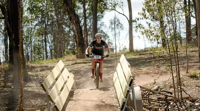 Amanda Reddy in the annual Hairy Mary, all-female mountain bike ride at the Victory Heights Trails.
