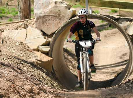 Lara Pogson-Manning rides int he annual Hairy Mary, all-female mountain bike ride at Victory Heights Trails.