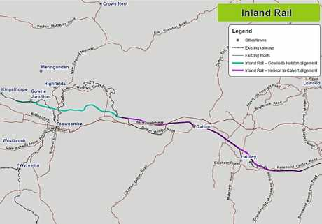OPPOTUNITY: A map of the planned inland rail route west of Ipswich.