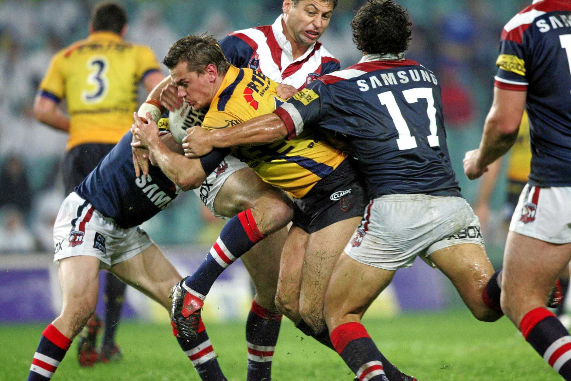 REMEMBERED: The late Chad Robinson in action for Parramatta against the Sydney Roosters.