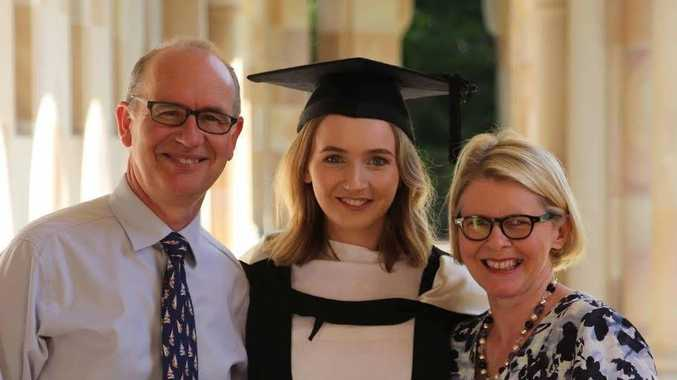 Dr Andrew Bryant with his daughter Charlotte and his wife Susan on Charlotte's graduation day. Picture: Supplied