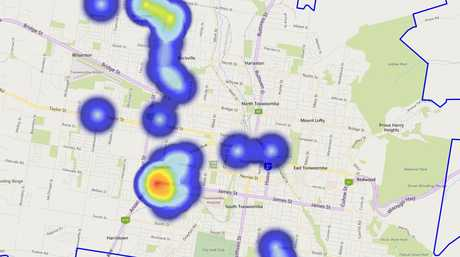 HEAT MAP: The suburbs where the most robberies have occurred, according to police crime data.