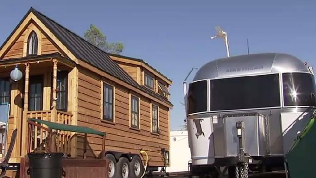 Billionaire Tony Hsieh lives in this caravan. Source: ABC News