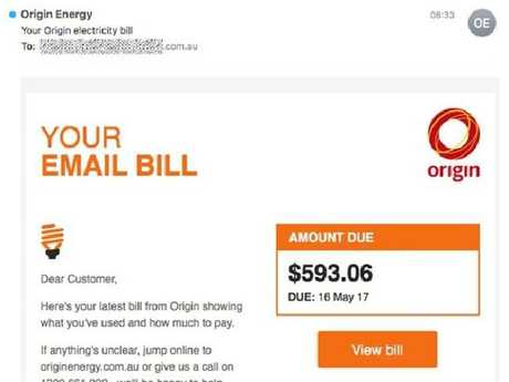 Don't click: the fake Origin Energy email. Picture: MailGuard