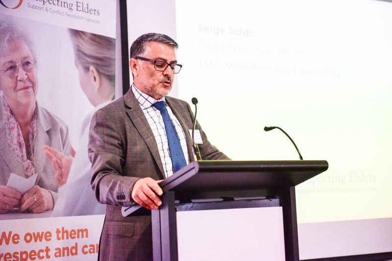 ELDER ABUSE SOLUTIONS: Serge Sardo, CEO of FMC Mediation and Counselling, announcing the new Melbourne support service.