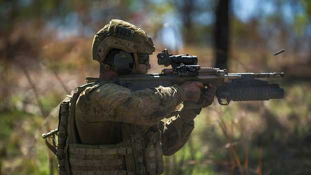 A soldier from the 5th Battalion, Royal Australian Regiment, taking part in live fire exercises this week during which a soldier was shot. Picture: Supplied