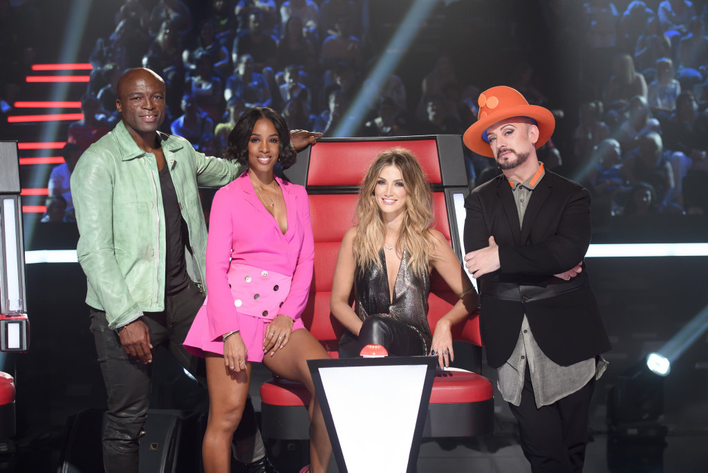 The Voice coaches, from left, Seal, Kelly Rowland, Delta Goodrem and Boy George.
