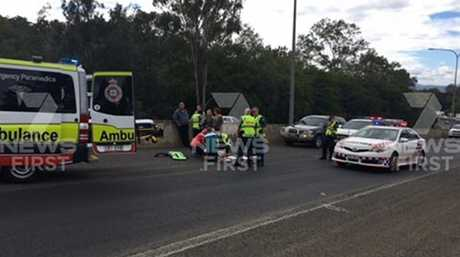 A man has been taken to hospital following an incident which has closed two lanes of the Toowoomba Range. Photo: 7 News Toowoomba