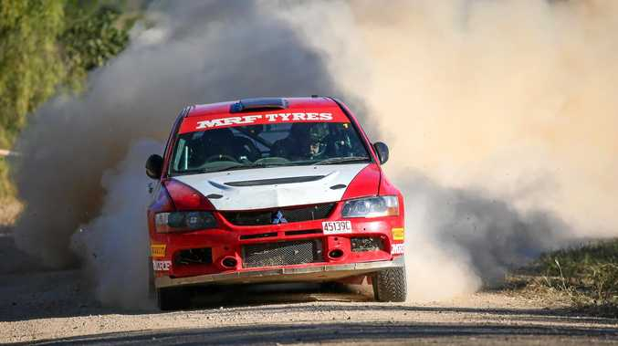REVVING IT UP: Ian Menzies and Robert McGowan spin up the dust at Wowan Rally last weekend.