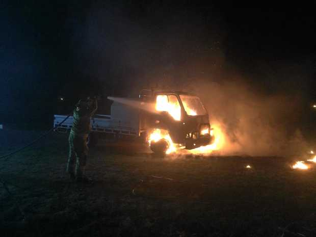 FIRE: Fire fighters were quick to put out the flame that had engulfed a truck in Winton St East.