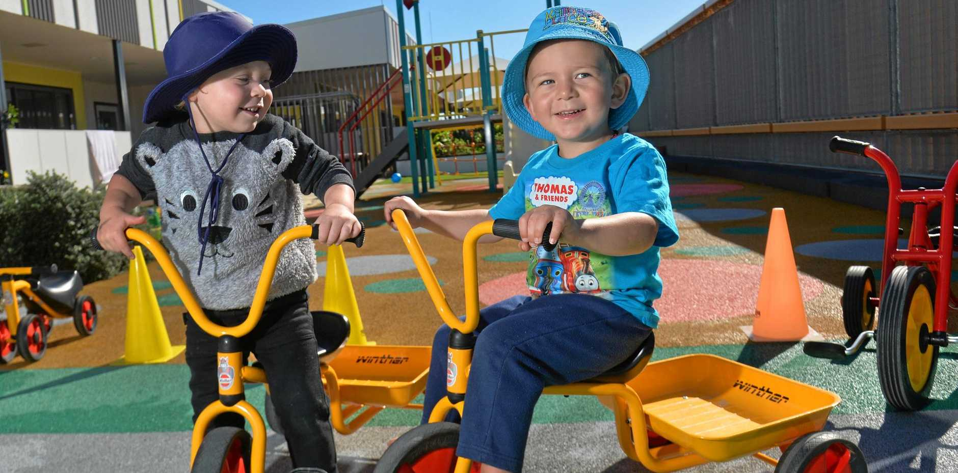 WE LOVE MUMS: Harry and Jimmy, both 2, celebrated Mother's Day early at Sunshine Coast University Hospital Childcare.