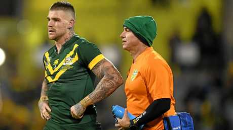 Josh Dugan of the Kangaroos walks off after being injured during the Anzac Test.