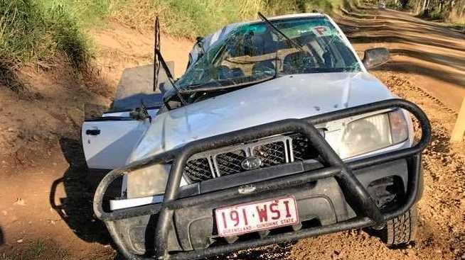 Krissy Lane avoided serious injury when her car rolled on Koumala Range Rd.