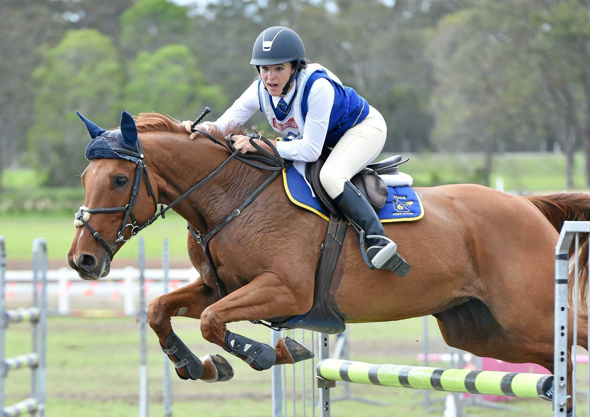 2017 PCQ State Showjumping and Equitation Championships at Maryborough showgrounds - 100cm grand prix 13 yrs & over. Bree Wiblen on Holmwood Flare from Nambour shows her form to win the event.