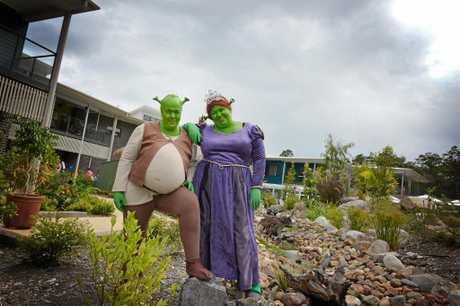 STARS: Tina Redding (playing Shrek) and Tracey Peterson (Princess Fiona).