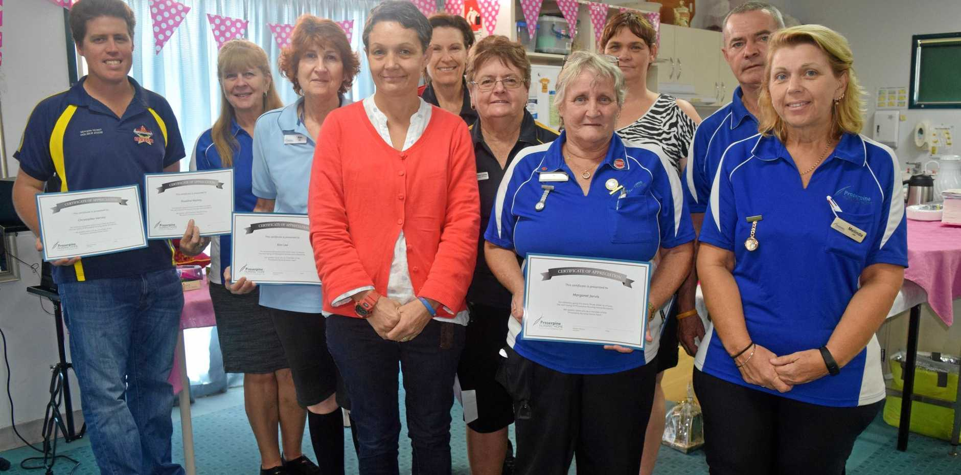 Chris Harvey, Roslyn Mackay, Kim Lee, Renee Croxford, Colleen Williams, Faylene Cooke, Margaret Jarvis, Lavinia Heard, Melinda Small and Garry Smith received recognition on International Nurse's Day.