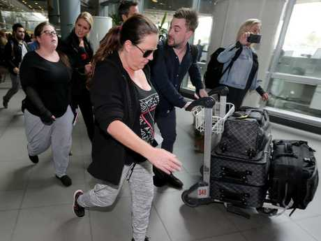 Cassandra Sainsbury's mother Lisa Evans and sister Khala Sainsbury arrive at El Dorado international airport in Bogota, Colombia with the 60 Minutes crew after signing a deal for her story. Picture: Nathan EdwardsSource:News Corp Australia