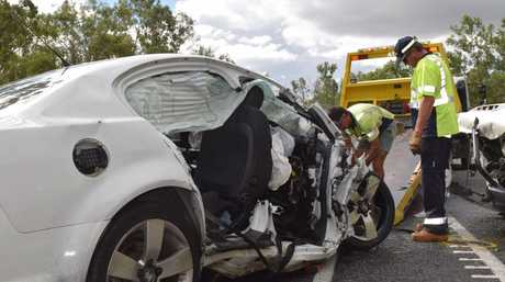 FATAL CRASH: The horrific scene of a two-vehicle crash along the Bruce Hwy at Kolonga, north of Gin Gin.