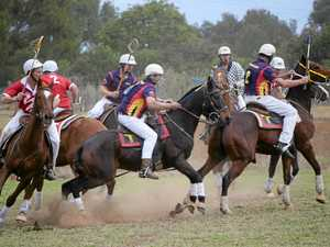 ACTION: Cunningham and Tara/Toowoomba fight it out at the Killarney polocrosse carnival.